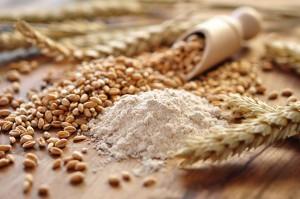 ziarna zbóż rozsypane z mąką na stole obok drewnianej łyżki