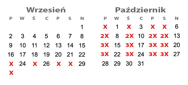 kartki z kalendarza wrzesień październik