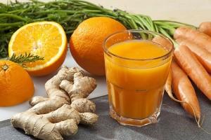 sok z pomarańczy, marchwi i imbiru