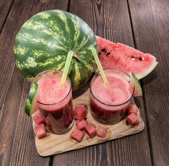 Fresh made Watermelon Juice with fresh fruit pieces